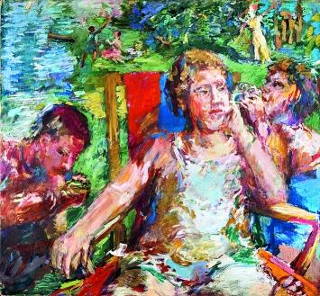 Oskar Kokoschka · Im Garten II, 1934, Öl auf Leinwand, 96,5x103,5cm ©ProLitteris