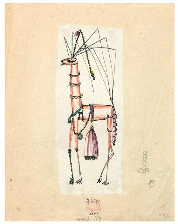 Dagobert Peche · Perlthier (Phantasietier), 1919, Entwurf, Buntstift und Tusche auf Papier, 27x21,1cm MAK, Wien