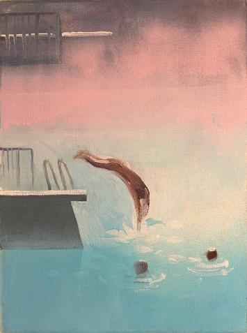 Maria Pomiansky · Im Seebad Mythenquai, 2019, Acryl auf Leinwand, 30x40cm