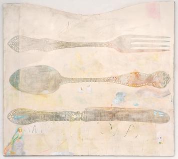 Sophie Reinhold · Wer will schon dreckiges Silber erben, 2020, Öl auf Marmormehl auf Jute, 200x180cm