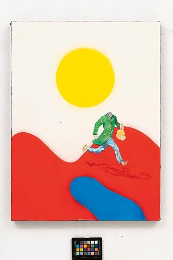 Sophie Reinhold · Person without head, 2020, Öl auf pigmentiertem Marmormehl auf Jute, 60x80cm