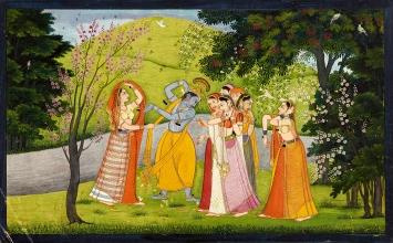 Krishna tanzt mit den Hirtenmädchen. Folio aus der zweiten Guler Gitagovinda-Serie von ca. 1775, Geschenk Horst Metzger, Museum Rietberg