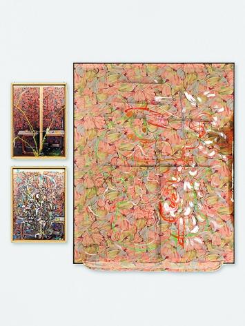 Dieter Roth · Back Cloth (mit Björn Roth), 1986/1989, 3 Teile: Acrylfarbe, Leim, bedrucktes Tuch (Duvetanzug) auf Rahmen, 200,8x160,5cm, Courtesy Hauser & Wirth