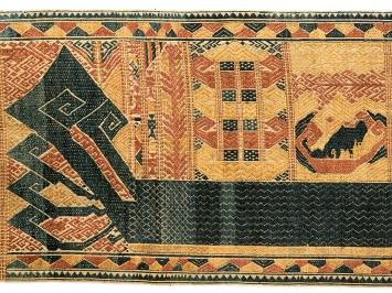 Palepai mit abstrahierten Mustern, Semangka-Bucht, Südsumatra, Courtesy Völkerkundemuseum Universität Zürich (Ausschnitt).Foto: Kathrin Leuenberger