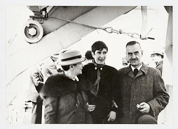 Katia, Erika und Thomas Mann an Bord der ‹Ile de France› (New York, April 1937), Thomas-Mann-Archiv der ETH Zürich