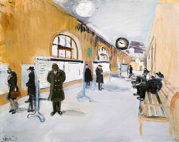 Varlin · Wartesaal des Bahnhofs in Montreux, 1936–1944, Öl auf Karton, Courtesy P. Guggenheim, Bondo.Foto: Reto Pedrini