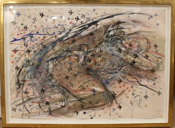 Rolf Iseli, Tausend Flieger, 1975, Stempelbild, Gouache, Tusche, Bleistift auf Zeichenkarton, 75 x 105 cm