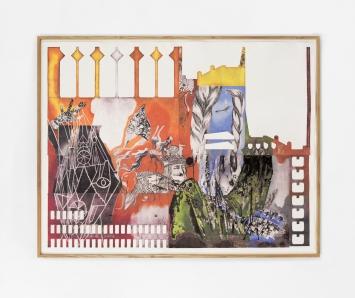 Cédric Eisenring: Das Meeting, 2016, Heliogravur, Buntstift, 206 x 158 cm, Courtesy Kirchgasse Gallery, Steckborn