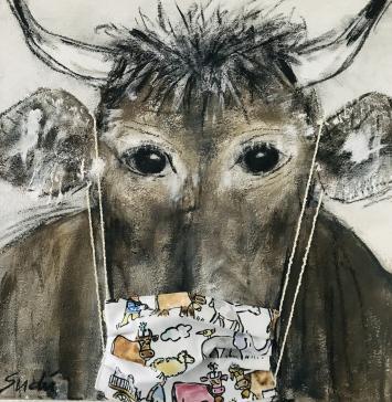 Kuh ‹Arve› mit Mundschutz, 12. April 2020