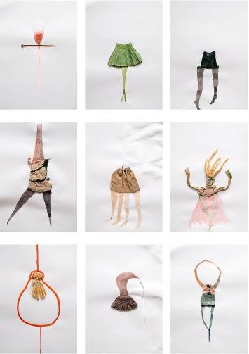 Possibilities, 2017, Puppenkleider und Aquarell auf Papier, 32-teilige Serie ©ProLitteris.Foto: Rudi Rapf