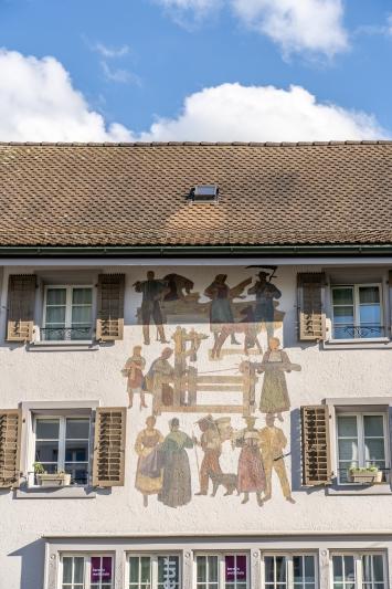 Heinz Balmer, Szenen der Textilherstellung, Alter Postplatz Zofingen