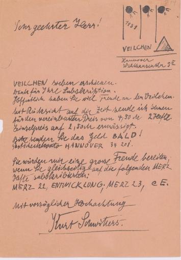 Kurt Schwitters·Werbebrief, 1931, Hannover, 21,3 x 14,8 cm