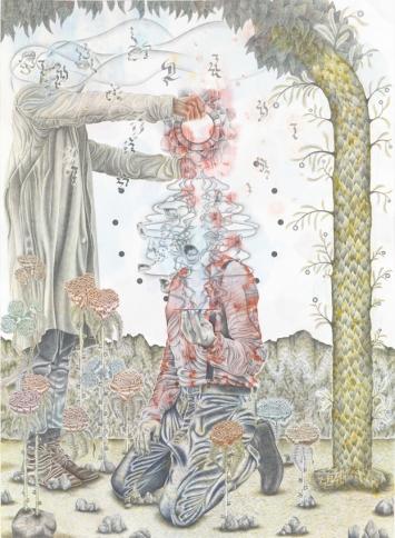 Glasvampire, 2018Bleistift, Farbstift und Tusche auf Papier185,5 x 135,3 cm