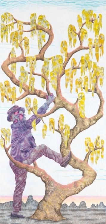 Tree of Life, 2019Tusche, Farbstift und Bleistift auf Papier288 x 140 cm
