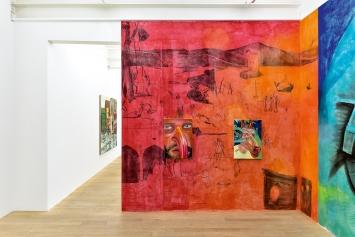 Trauma I and II, Öl auf Leinwand, 70x50cm, Wandzeichnung, 2020, Courtesy Galerie Peter Kilchmann
