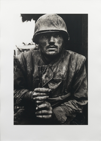Don McCullin, Shell shocked US Marine, 1968, Printed in 2018, Gelatin Silver Print Image: 53.2 x 35.8 cm, Sheet: 67 x 49.4 cm  © Don McCullin  Courtesy the artist and Hauser & Wirth  Photo: Dominic Brown Photography
