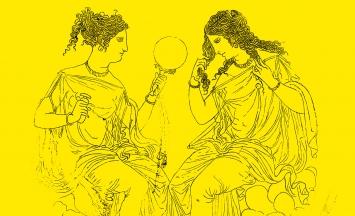 Spiegeldose aus Bronze (Detail, Umzeichnung), griechisch, 4. Jh. v. Chr, 17,2cm, Abteilung für griechische und römische Kunst, The Metropolitan Museum of Art