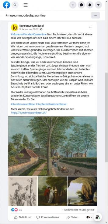 Kunstmuseum Basel,#MuseumMoodsofQuarantine, Facebook-Post, 9.1.21