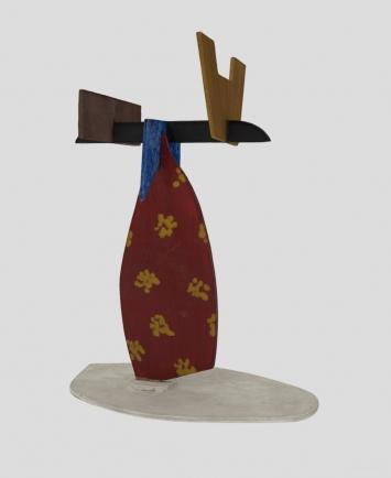 Meret Oppenheim, Bauernfrau, auf dem Kopf einen Korb tragend, Ölfarbe auf ausgesägtem Holz, 25 x 20 x 8 cm, 1960, Kunstmuseum Bern, Legat Meret Oppenheim, Ansicht aus 3D-Scan und Photogrammetrie. Erstellt durch CL-Y GmbH Zürich