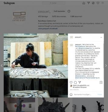 Stéphanie Baechler, #artistsstakeover, Instagram-Account Kunsthaus Pasquart, Screenshot