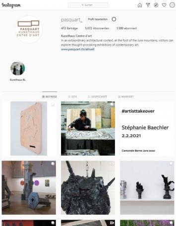 Stéphanie Baechler u.a., #artistsstakeover, Instagram-Account Kunsthaus Pasquart, Screenshot