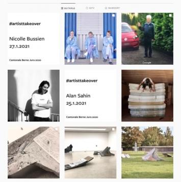 Alain Sahin u.a., #artistsstakeover, Instagram-Account Kunsthaus Pasquart, Screenshot