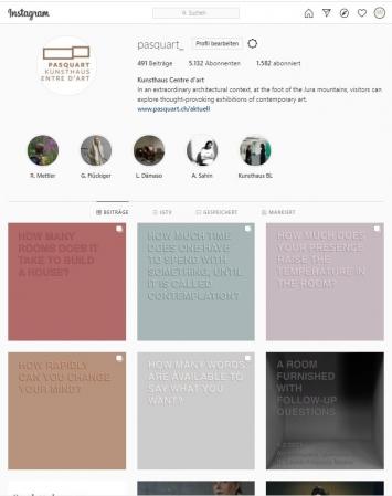 Karen Amanda Moser, #artistsstakeover, Instagram-Account Kunsthaus Pasquart, Screenshot