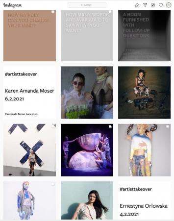 Karen Amanda Moser u.a., #artistsstakeover, Instagram-Account Kunsthaus Pasquart, Screenshot