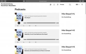 Podcast-Folgen ‹K20K21› über Hito Steyerl auf der Webseite der Kunstsammlung Nordrhein-Westfalen (kunstsammlung.de)