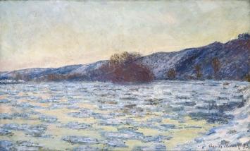 Claude Monet,Eisschollen im Dämmerlicht, 1893, 60 x 99,7 cm, Öl auf Leinwand, Museum Langmatt