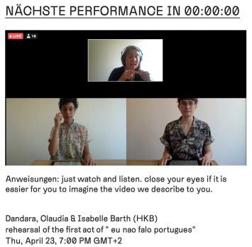 Dandara, Claudia & Isabelle Barth (HKB), eu nao falo portugues, 2020, Probehaufnahme, ACT Online Performance-Festival. Foto: ACT