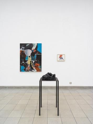 Karin Reichmuth, Ich werde, du wirst, es wirrt, 2020, Öl auf Leinwand / Transformation, 2019, Collage, Farbstift und Acryl auf Papier / Polpo-Sition #2, 2019, Belgisch Granit, Courtesy the artist. Foto: CE