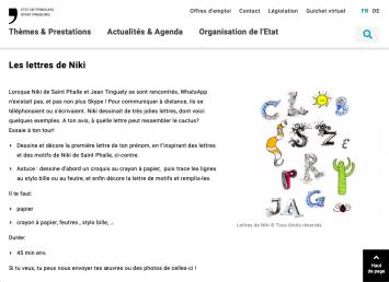 Aufgabe mit Niki de Saint Phalles Buchstaben, Musée d'art et d'histoire de Fribourg/Espace Jean Tinguely – Niki de Sainte Phalle, Screenshot