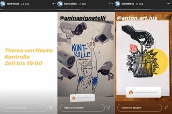 Zusammenstellung aus dem Kunstkiosk-Kunstkontest vom 1.5.2020, Screenshots (Instagram: @kunstkiosk)