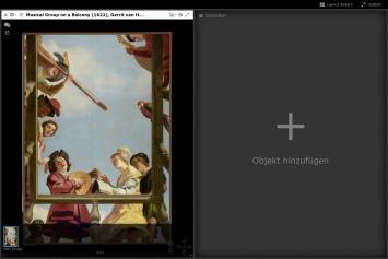 Mirador-Viewer mit Werk aus der Sammlung des Getty Museums und geöffneter Bereich für ein weiteres Objekt.