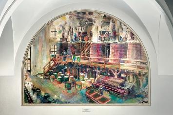 Alfred Heinrich Pellegrini · Farbraum der chemischen Fabrik J. R. Geigy AG Basel, 1935, Ölfarbe, Leinwand, Putz, 200x250cm. ETH Zentrum