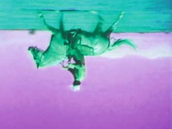 Green Horses, 1988 (Still), 2-Kanal-Videoinstallation (Farbe, Ton), 1 Projektion, 2 Monitore und Stuhl,59'40'', Masse variabel ©ProLitteris.Foto: Ron Amstutz