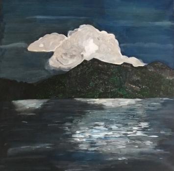 Niklaus Schärer, Abendstimmung,Rigi, Acryl auf Leinwand, 80 x 80, 2018