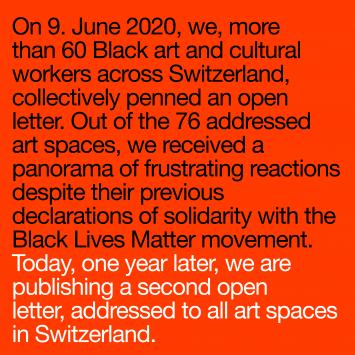 Brief von Schwarzen Kunstschaffenden an die Kunsthäuser in der Schweiz (9.6.2021)