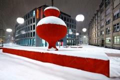 Atelier Carlos Martinez,stadtlounge II,Stadtlounge Erweiterung Winteransicht. Foto: Hannes Thalmann