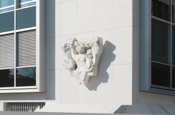 Josef Rickenbacher, Sammeln und Ernten, 1956-1958,Wandrelief, Laasar Marmor,Zuger Kantonalbank, Bahnhofstrasse 1, Eigentum Zuger Kantonalbank
