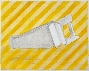 Ruth Hillebrand Dane / Form against yellow streaked, 2020 /Ink, Graphit on primed Hardboard /30 x 24 cm