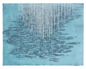 Stéphane Erouane Dumas, Hiver, Reflets, 2016, oil on paper, 120 x 155cm