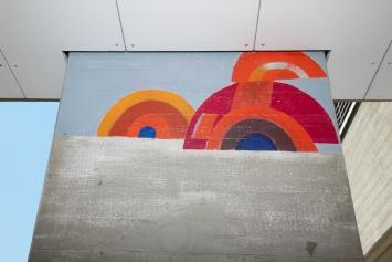 Elso Schiavo,Ohne Titel, 1970,Wandbild, Acrylfarbe, Oberstufenschulhaus Loreto, Loretostrasse 10, Eigentum Stadt Zug