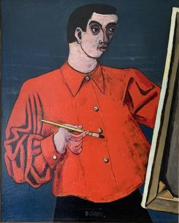 Wilhelm Schmid, Selbstporträt in rotem Hemd, um 1960, Öl auf Leinwand, 90 x 74 cm, Kunstmuseum Olten, Inv. 2019.24