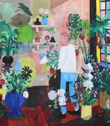 Ben Sledsens, The Flowerstore, 2015, Öl, Kreide, Acryl und Spray auf Leinwand, 200 x 170 cm, Tim Van Laere Gallery, Antwerpen