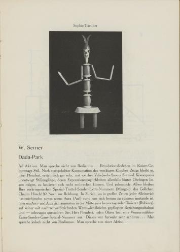 Der Zeltweg, Zürich, 1919, Zeitschrift, Seite mit Abbildung eines Werks von Sophie Taeuber-Arpund Text von Walter Serner, 30,9 x 22,3 cm