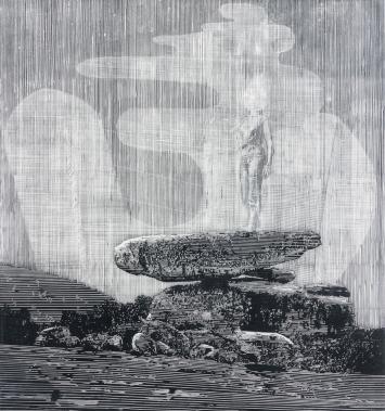 Sebastian Speckmann, Basis, 2018, Linolschnitt, 66,5 x 62,3 cm.