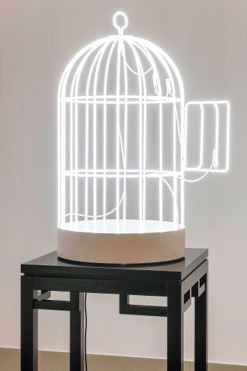 Bird Cage, 2007, in Zusammenarbeit mit Jean-Lou Majerus, Neon mit Holzsockel, 95x50x50cm, Sockel: 95x60x60cm, Ausstellungsansicht Aargauer Kunsthaus.Foto: René Roetheli