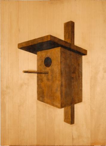 Hugo Suter, Vogelhaus aus Holz, 1973, Holzbeize auf Sperrholz, 110.4 x 80.2 cm, Kunstmuseum Luzern